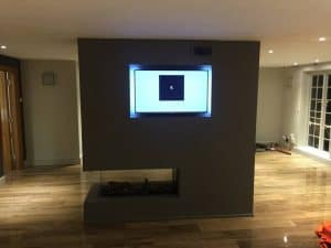fireplace installation with TV unit