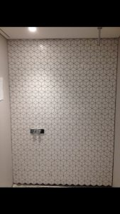 tiled bathroom wall