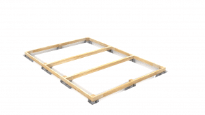 Setting up a construction frame of a shed